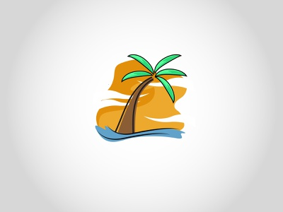 Hawaiii blue green orange color colors view sunset beach coconut hawaii hawai illustration vector logo design