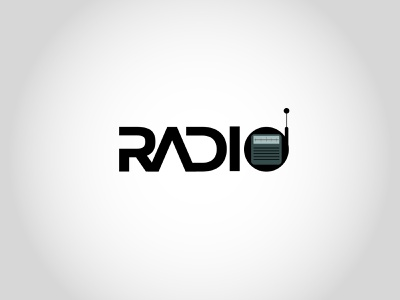Radio blackletter font radio grey black branding vector logo design