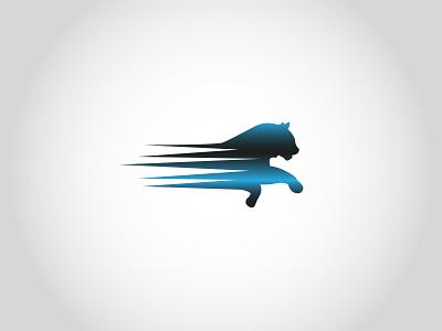 RunningTiger v2 hitech cat animal running run tiger grey black gradient blue illustration branding vector logo design