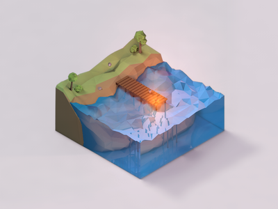 Low Poly Water Cube cube world 3d isometric jetty water cinema 4d c4d lowpoly low poly