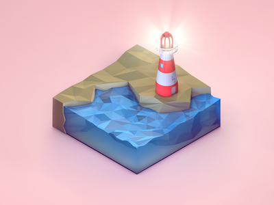Low Poly Lighthouse Cube lighthouse low poly lowpoly c4d cinema 4d water isometric 3d cube world