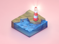 Low Poly Lighthouse Cube