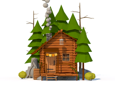 Cabin in the Woods wip app forest cabin 3d c4d cinema 4d lowpoly low poly