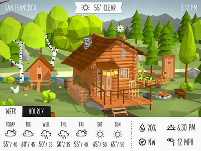 Introducing Weatherland cabin lowpoly nature 3d weather low poly ipad iphone ui app