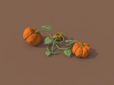 Pumpkin Plant halloween autumn 3d cinema 4d c4d lowpoly low poly vegetables pumpkin