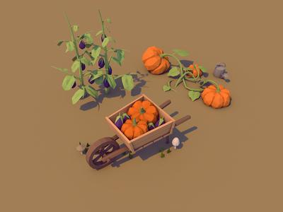Autumn Assets wheelbarrow seasons aubergine fall autumn pumpkin cinema 4d c4d cinema4d low poly lowpoly 3d