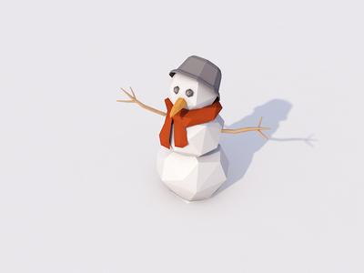 Low Poly Snowman snow low poly lowpoly winter snowman 3d cinema 4d c4d