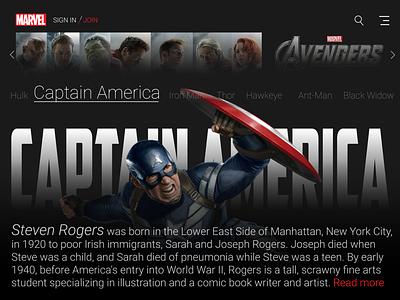 Marvel Web Ui Captan America uiux web ui captainamerica marvel ui art design