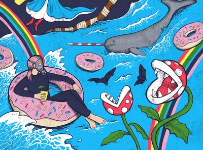 The Apocolypse with Doughnuts vintage drawing fun surreal surrealism colourful figure drawing illustration illustrator