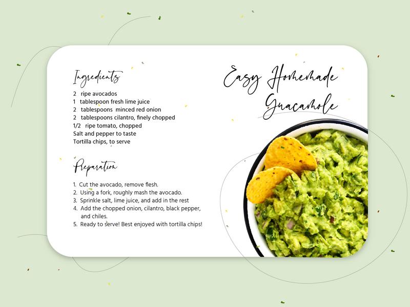 Easy Homemade Guacamole Recipe Card 🥑