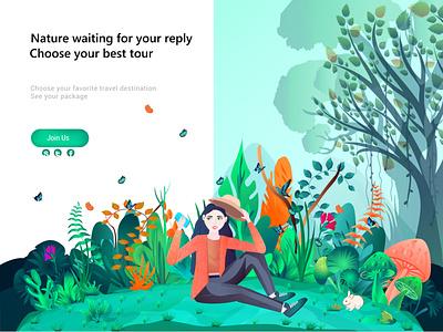 Nature Selfie website design vector branding web illustration