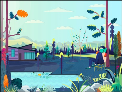 Calm branding website web design vector illustration