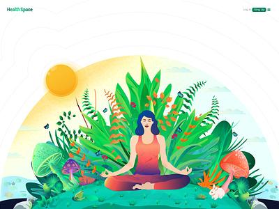 Meditation Illustration yoga illustration digital art home page illustration vector design ui website illustration
