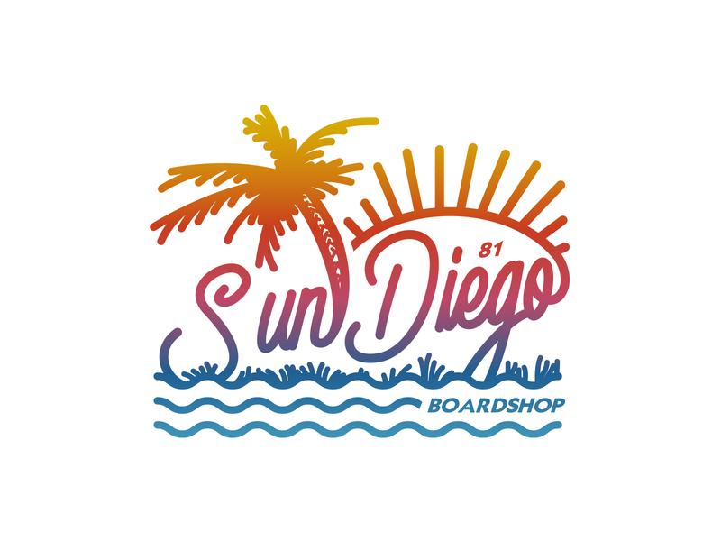 Sunny Diego apparel vector illustration identity lettering badge branding type icon logo