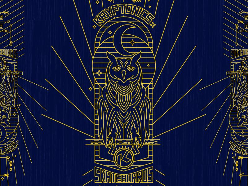 Kryptonics Owl skate logo lettering illustration icon branding badge