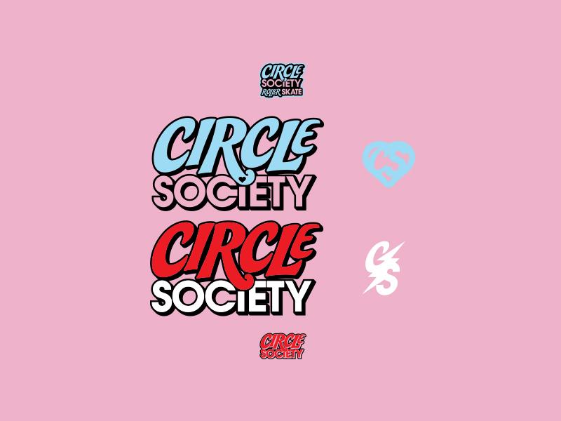 Circle Society skates rollerskates typography illustration identity lettering badge branding type icon logo