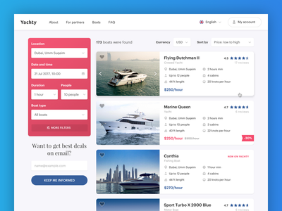 Yachty - Search Results Page rental yacht catalog page website results search ux ui user experience user interface