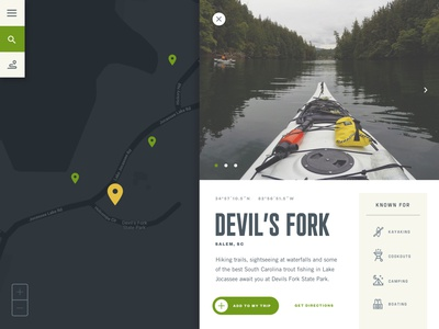 Location Preview splitscreen exploring camping map jocassee lake kayak outdoors scheduler itinerary ui