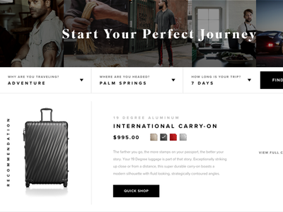 Tumi Bag Discovery Tool form retail wanderlust interactive tumi luggage travel ecommerce ui after effects