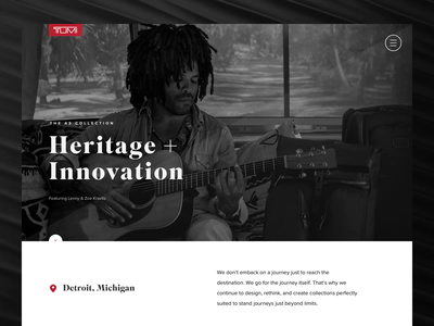 Collection Landing Page innovation heritage retail journey tumi luggage travel ecommerce landing page ui