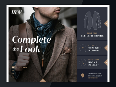 Retail Styleframes clothing fit tailor ui ecommerce apparel suits retail