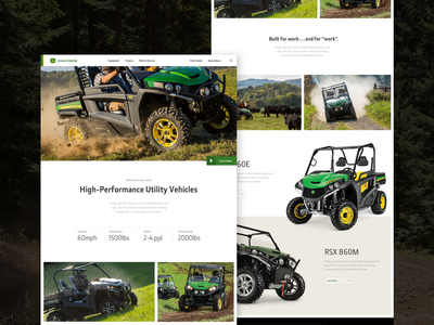 Gator RSX utility vehicle mud landing page layout design deere gator offroad layout