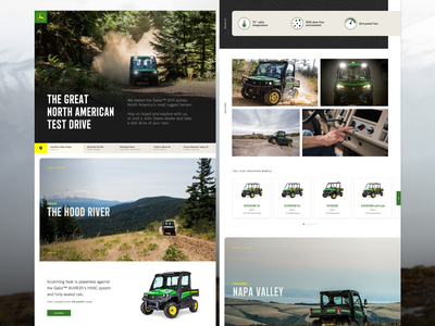 Great North American Test Drive offroad utility vehicle ecommerce after effects deere gator landing page