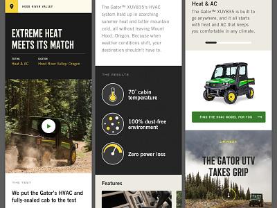 location detail oregon hood river valley mobile ui mobile gator deere utility vehicle ecommerce landing page