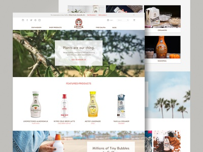 Califia Home Page califia almond milk coffee responsive ux ui ecommerce