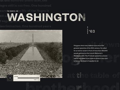 Washington after effects motion animation landing page web design martin luther king mlk50 mlk