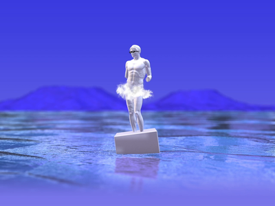 Komodo Dragon OS water windows vaporwave statue element3d after effects motion design motion