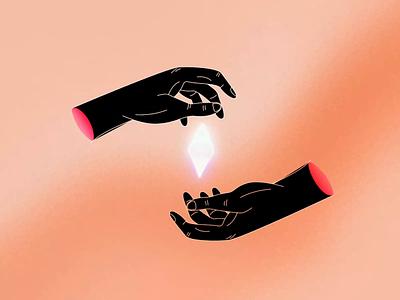 Diamond Hands amc gamestop bets wallstreet gradient pill diamond gem hands character animation illustration after effects animation motion design motion