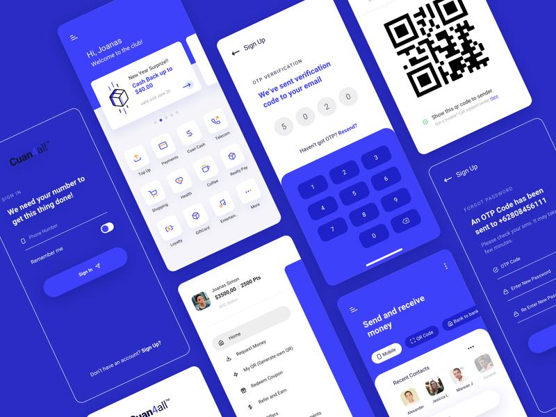 Fintech App Exploration buy bills bank iconset card money balance ux blue and white simple design send money mobile app fintech payment