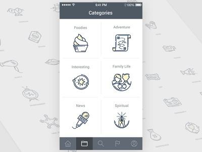 """""""Categories"""" Icon set of Snap Central Apps deepblue line-icon lineicon icon-set iconset icon"""