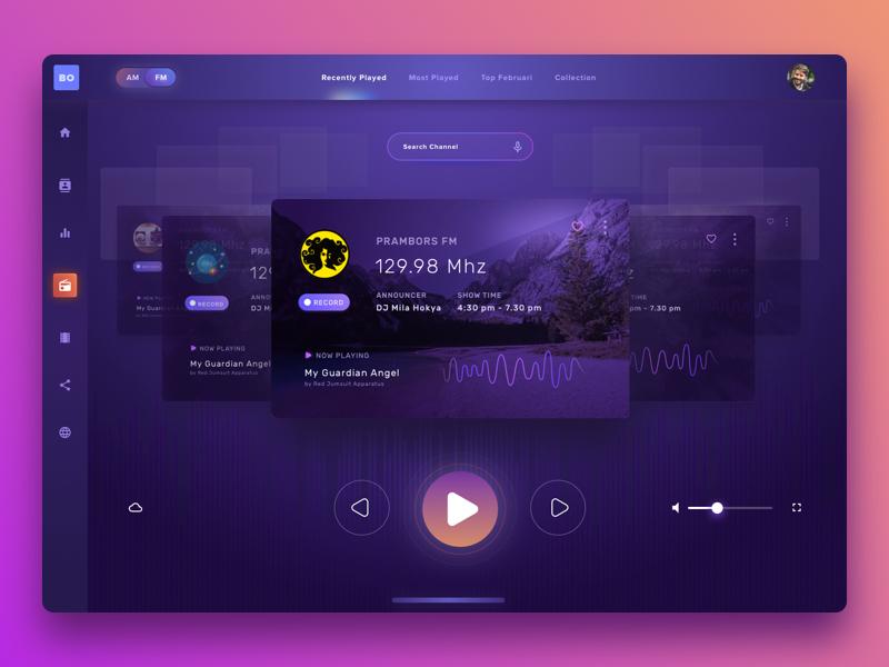 Radio and Multimedia Player Djaman Now landingpage dashboard modern purple player multimedia tablet radio