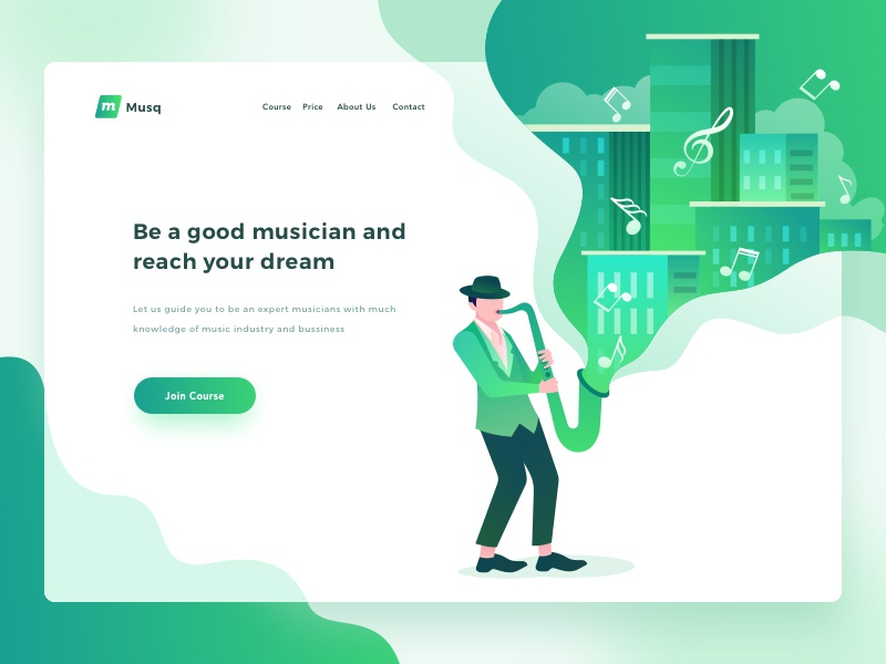🎸 Musq Music Course Header Exploration 🎹 saxophone guitar musicians illustration popular clean dashboard landing page green concert music