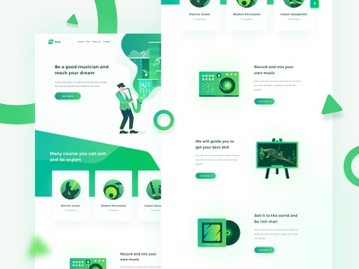 🎸 Musq Music Course and Recording Studio recording studio saxophone guitar musicians illustration popular clean dashboard landing page green music