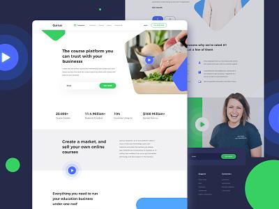Qursus - Learning Platform Landing Page modern dashboard ui typography blue illustration dashboard landingpage green online course online platform