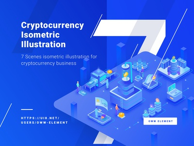 7 Cryptocurrency Isometric Illustration ready for use