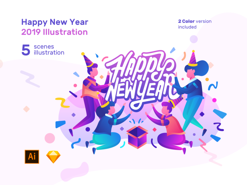New Year 2019 Ilustration Pack purplish end seasons end year banner promotion banner ad header illustration illustration art ui8 product for sale for sale new year 2019 happy new year new year eve