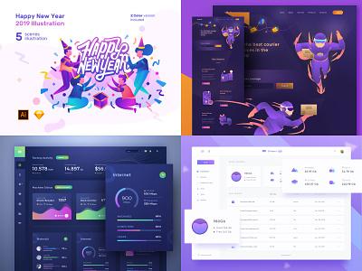 Top 4 2018 new year dark robot design payment purple illustration ux landing page ios landingpage dashboard clean
