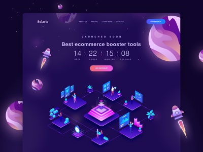 Sularis Countdown Landing Page dark theme purple isometric galaxy countdown ecommerce dark dark website clean landingpage landing page dashboard