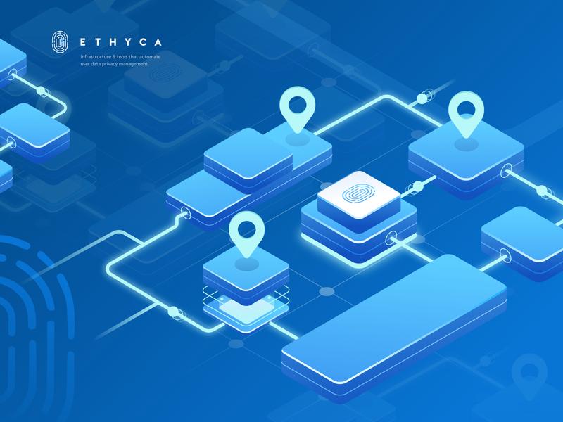 Ethyca Cloud Data - Data Maps maps isometric ui ux dashboard landingpage cloudserver vpn internet illustration server cloud