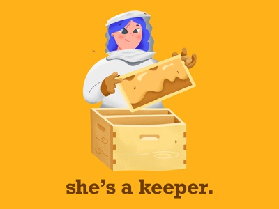 She's a Keeper digitalart procreate design illustration apiarist bee keeper