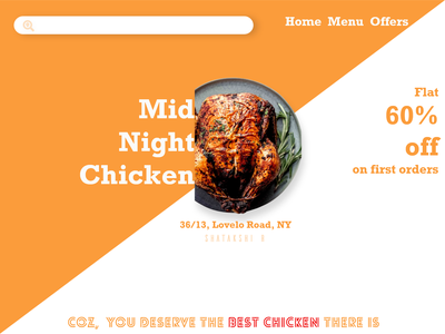 Midnight chicken diner food app website design webdesign food chicken brand design marketing brand identity ui flat branding