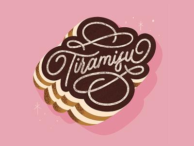 Tiramisu dessert procreate design typography lettering illustration