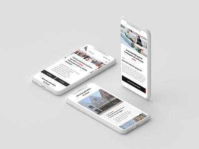 Real Estate  - Responsive website mockup iphone white red black grid minimalistic homepage landing page landingpage website responsive vastgoed real estate