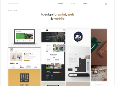 Personal portfolio, a work in progress designer grid white black gold uidesign ux ui portfolio-grid website portfolio