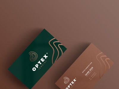 Business card design for a jewelry store logo design logo green brown mockup stationary identity branding business cards jewelry jewelry shop
