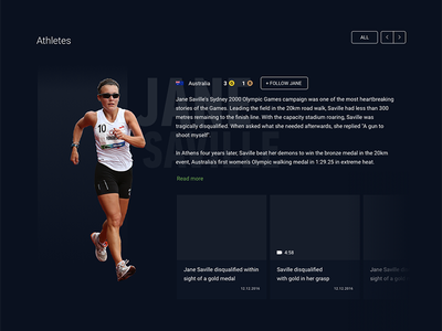 Rio Olympics Racewalking sport athlete tablet website ux ui rio race-walking olympics nbc